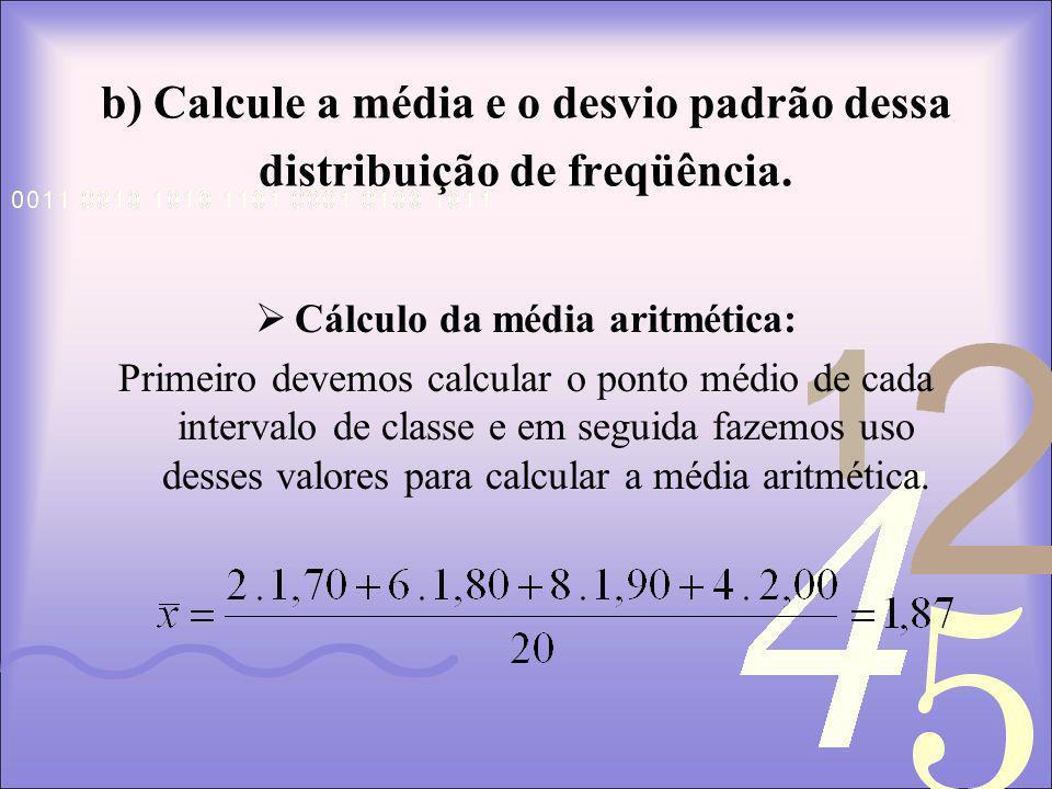 b) Calcule a média e o desvio padrão dessa distribuição de freqüência.