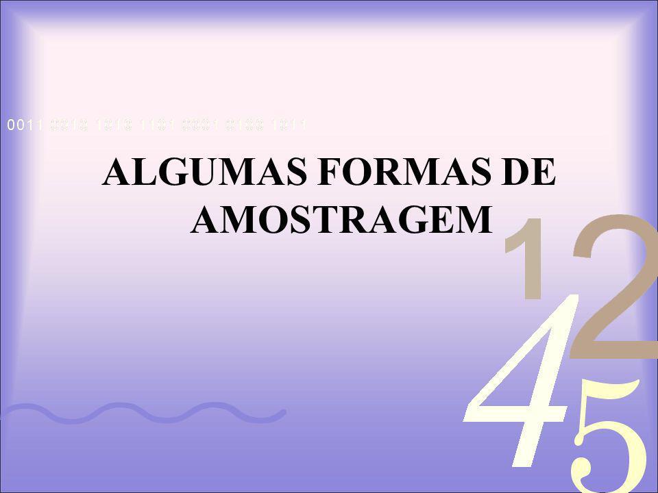 ALGUMAS FORMAS DE AMOSTRAGEM