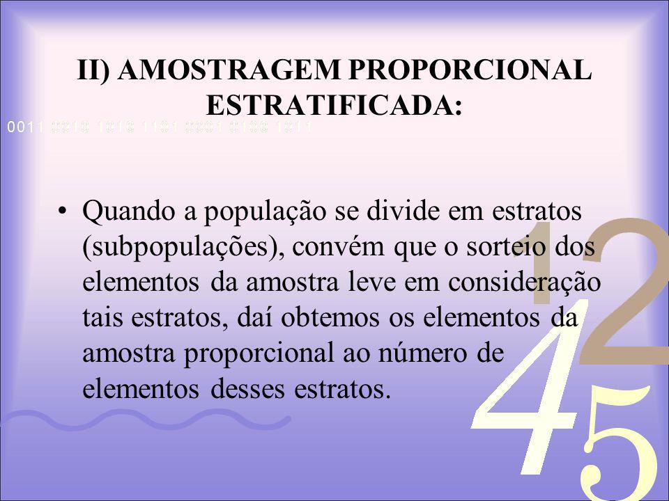 II) AMOSTRAGEM PROPORCIONAL ESTRATIFICADA: