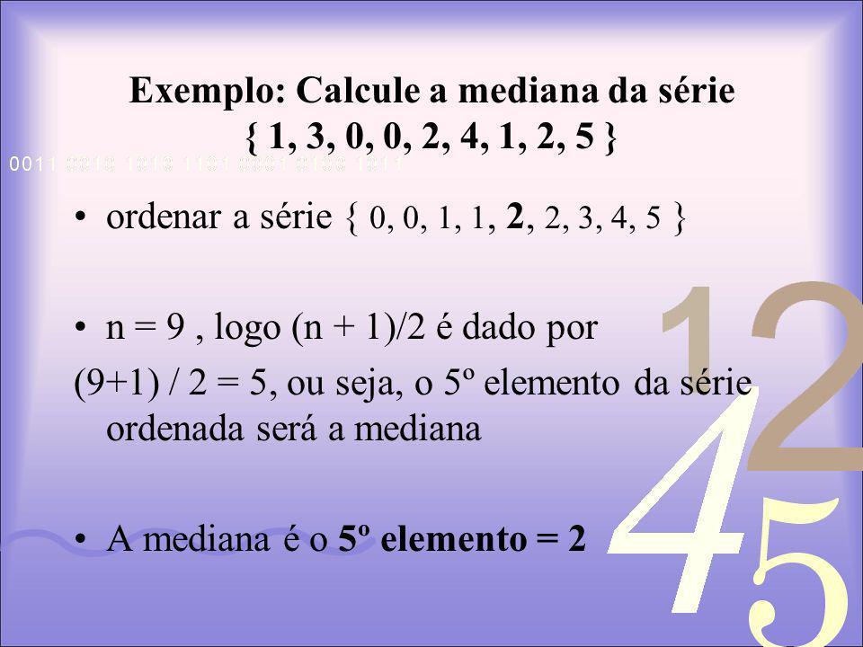 Exemplo: Calcule a mediana da série { 1, 3, 0, 0, 2, 4, 1, 2, 5 }