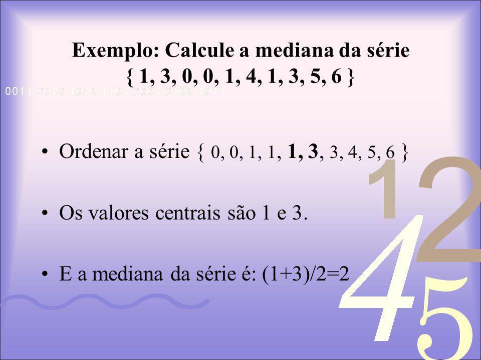 Exemplo: Calcule a mediana da série { 1, 3, 0, 0, 1, 4, 1, 3, 5, 6 }