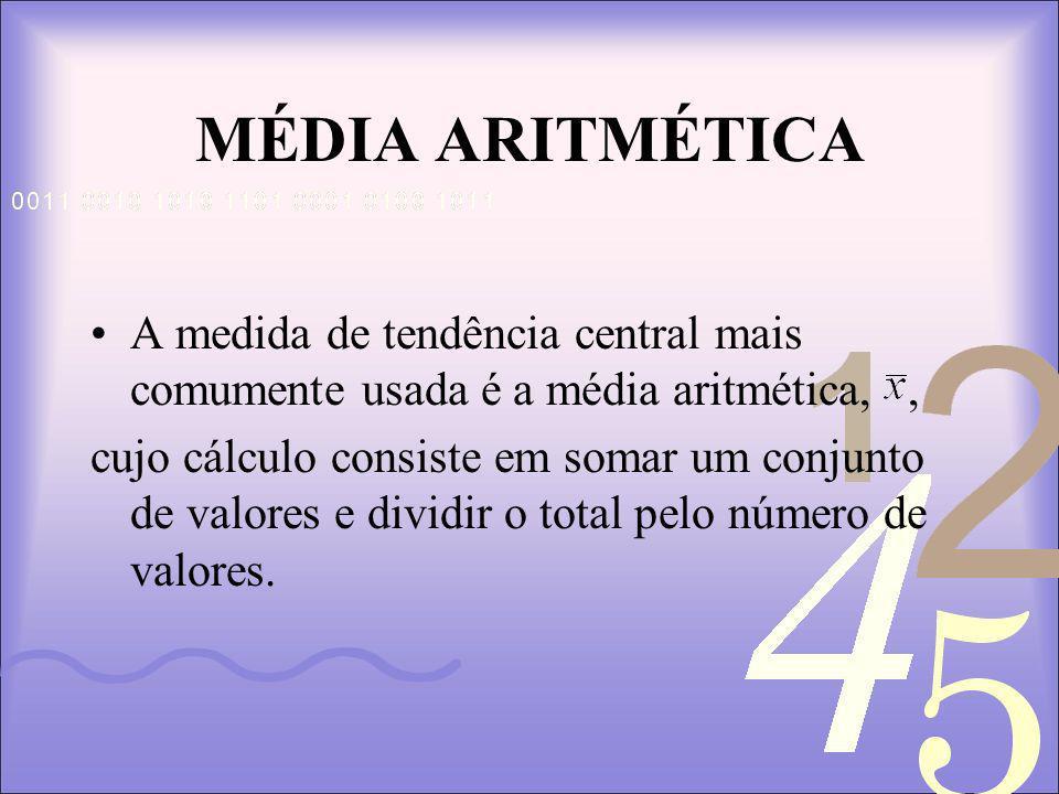 MÉDIA ARITMÉTICA A medida de tendência central mais comumente usada é a média aritmética, ,