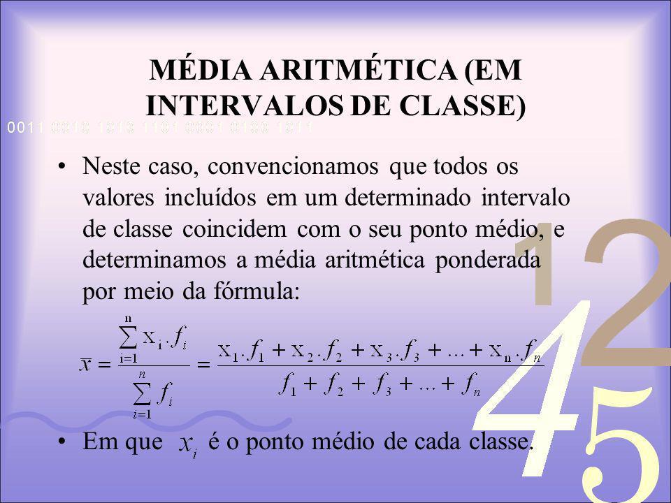 MÉDIA ARITMÉTICA (EM INTERVALOS DE CLASSE)