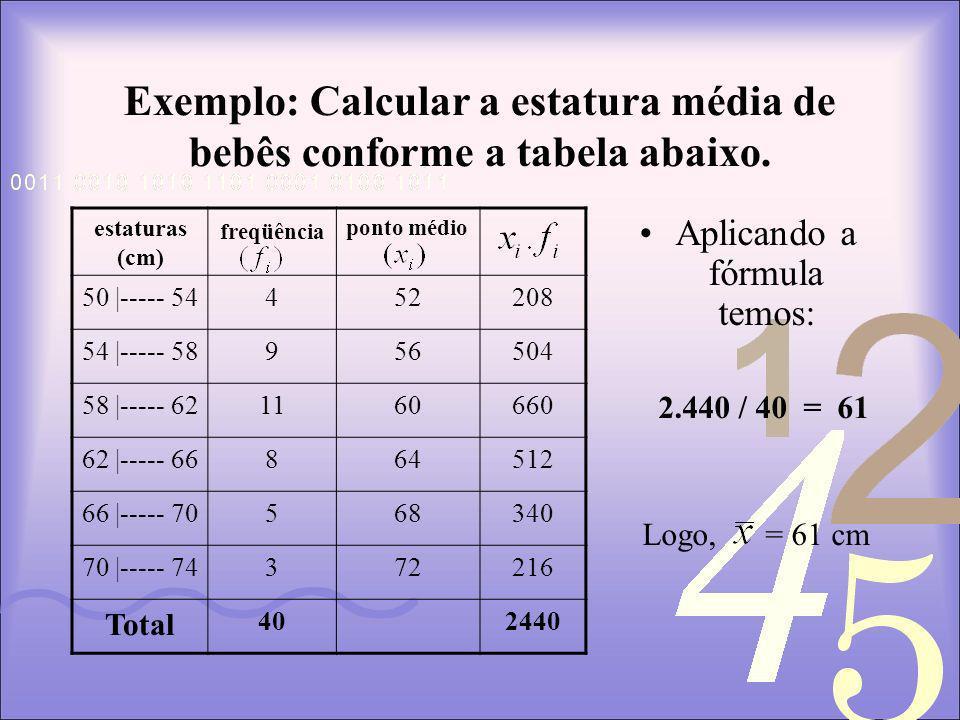 Exemplo: Calcular a estatura média de bebês conforme a tabela abaixo.