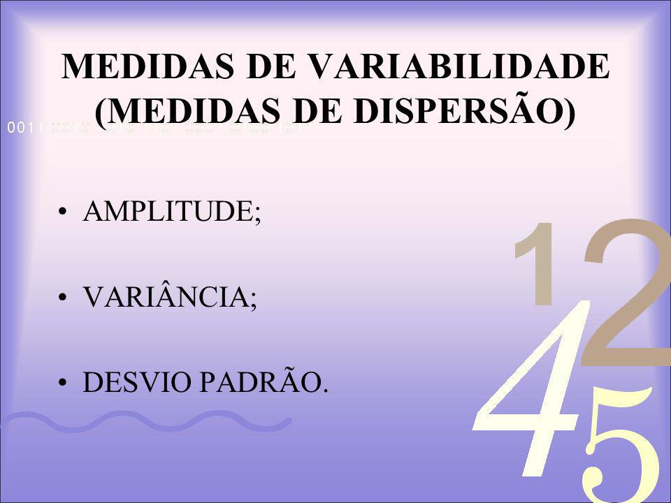 MEDIDAS DE VARIABILIDADE (MEDIDAS DE DISPERSÃO)