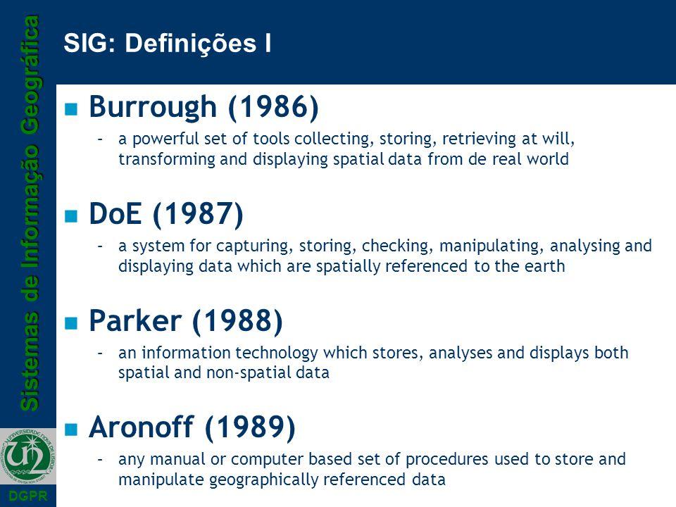 Burrough (1986) DoE (1987) Parker (1988) Aronoff (1989)