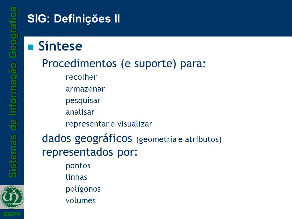 Síntese SIG: Definições II Procedimentos (e suporte) para: