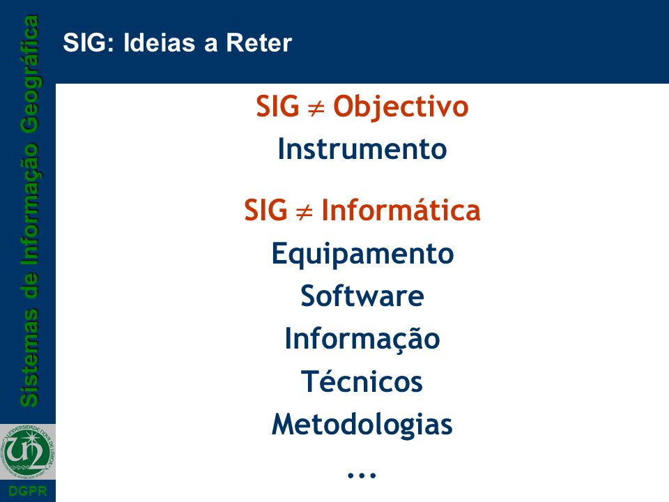 SIG  Objectivo Instrumento SIG  Informática Equipamento Software