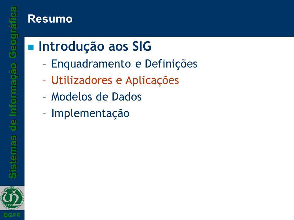 Introdução aos SIG Resumo Enquadramento e Definições