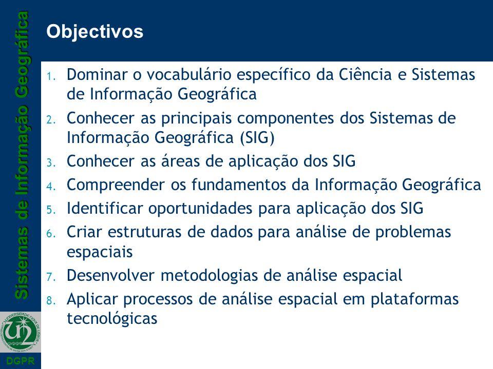 Objectivos Dominar o vocabulário específico da Ciência e Sistemas de Informação Geográfica.