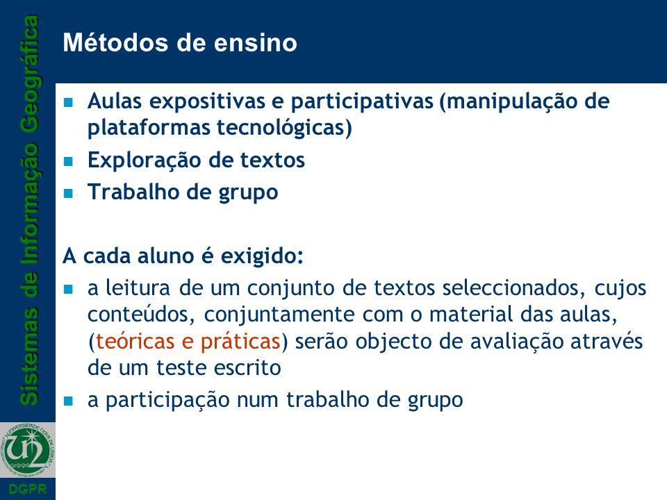 Métodos de ensino Aulas expositivas e participativas (manipulação de plataformas tecnológicas) Exploração de textos.