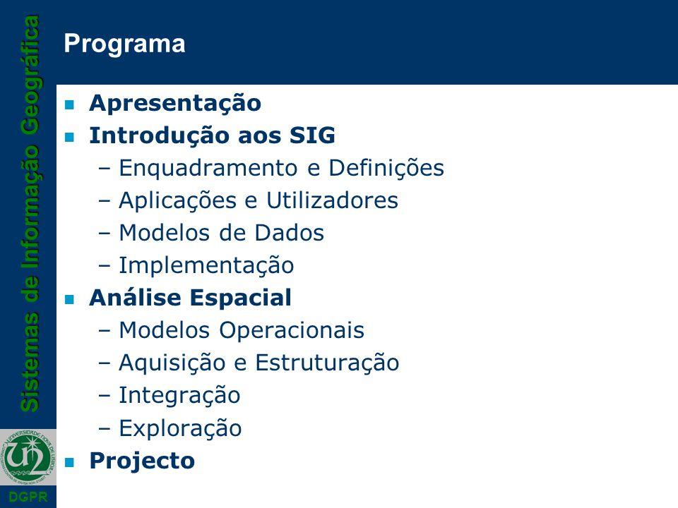Programa Apresentação Introdução aos SIG Enquadramento e Definições