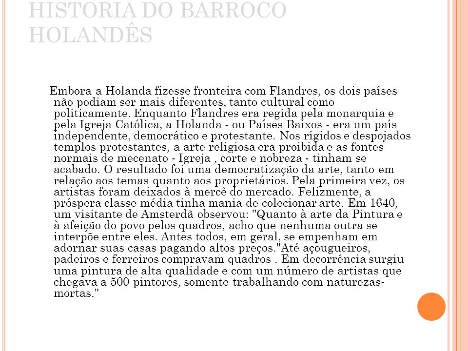 HISTORIA DO BARROCO HOLANDÊS