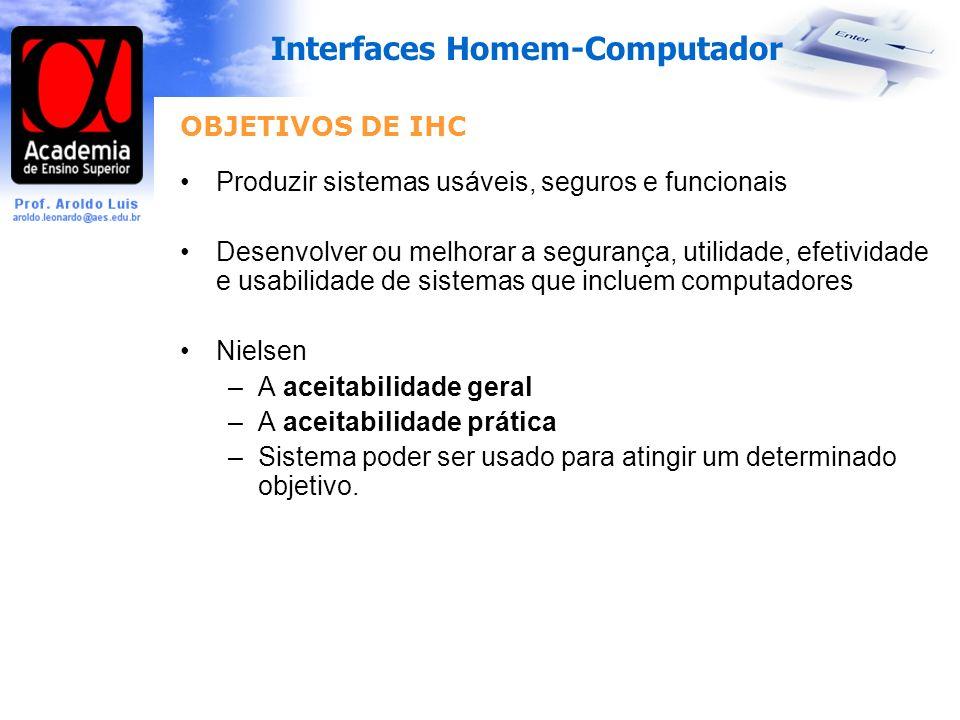 OBJETIVOS DE IHC Produzir sistemas usáveis, seguros e funcionais.