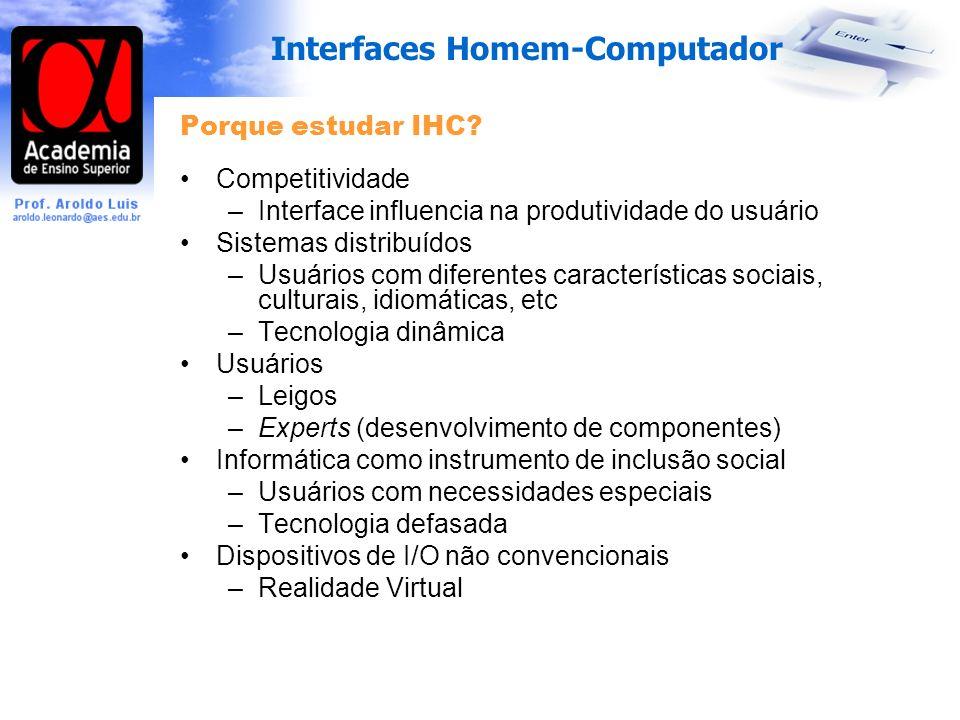 Porque estudar IHC Competitividade. Interface influencia na produtividade do usuário. Sistemas distribuídos.