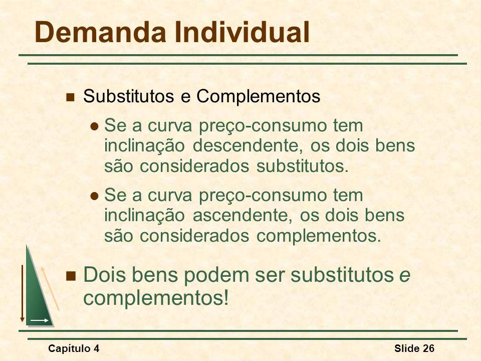 Demanda Individual Dois bens podem ser substitutos e complementos!