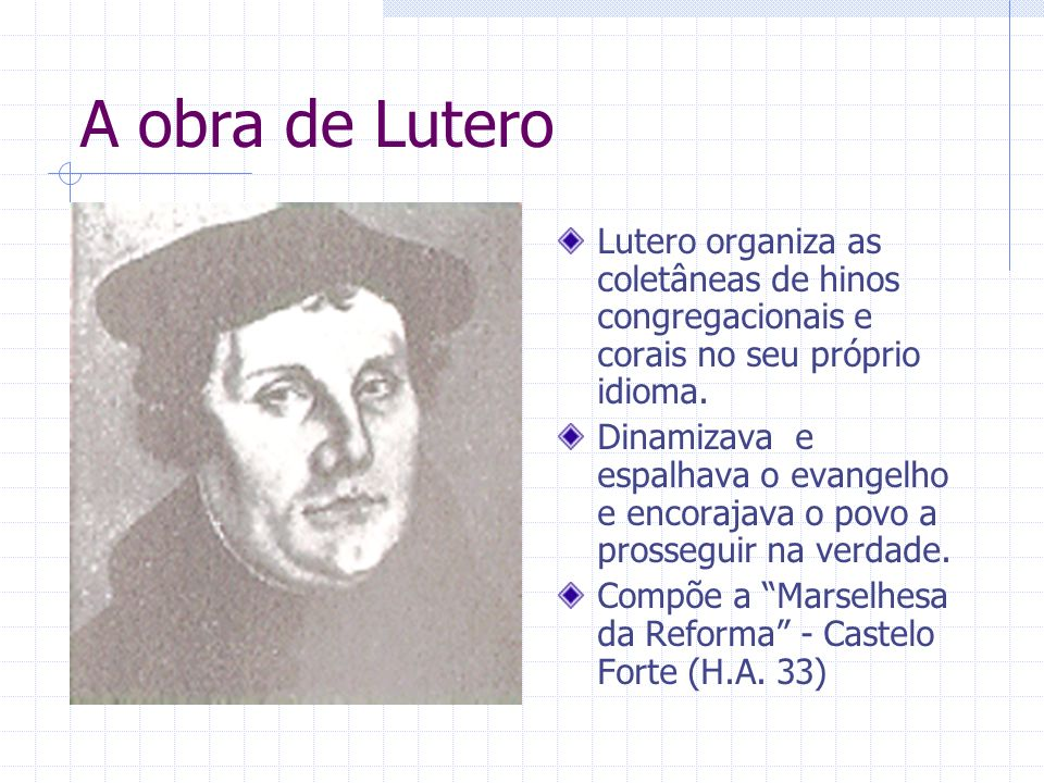 A obra de Lutero Lutero organiza as coletâneas de hinos congregacionais e corais no seu próprio idioma.