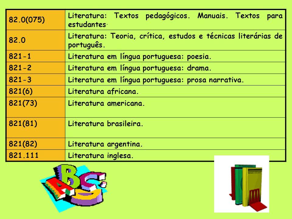 82.0(075) Literatura: Textos pedagógicos. Manuais. Textos para estudantes. 82.0.