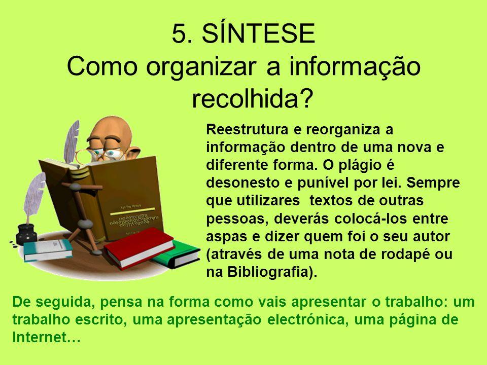 Como organizar a informação recolhida