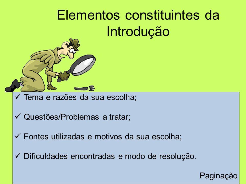 Elementos constituintes da Introdução