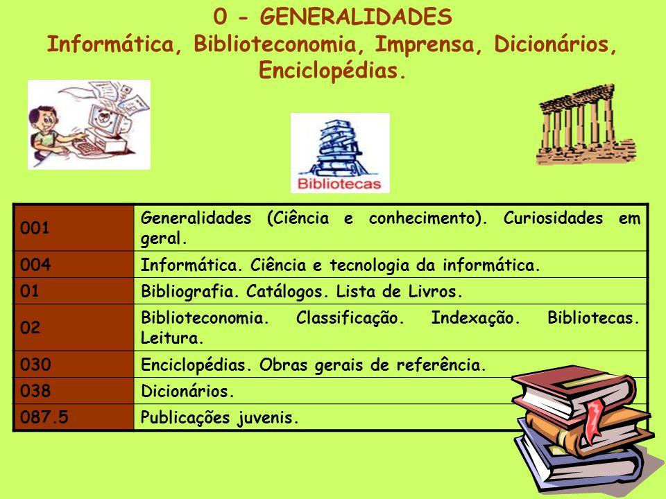 Informática, Biblioteconomia, Imprensa, Dicionários, Enciclopédias.