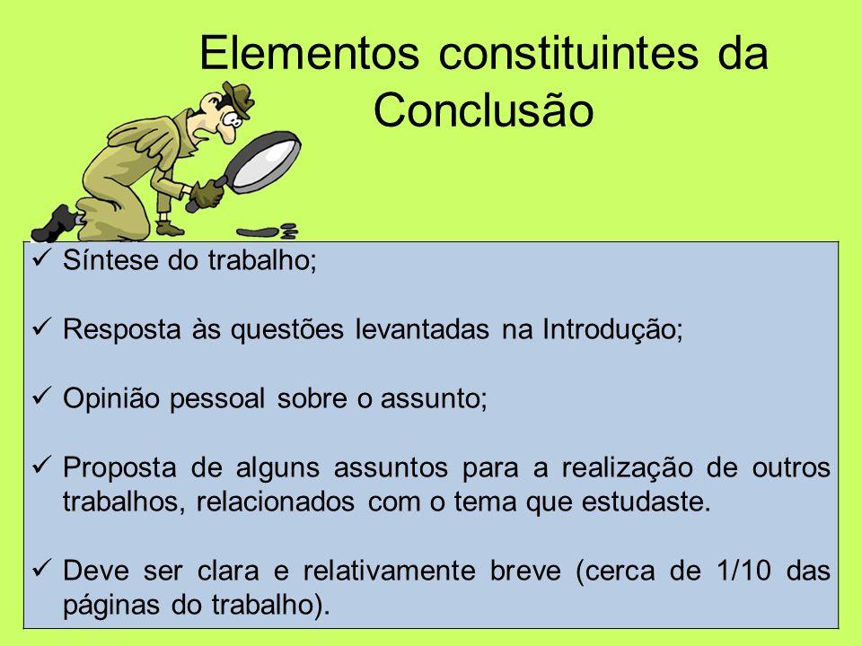 Elementos constituintes da Conclusão