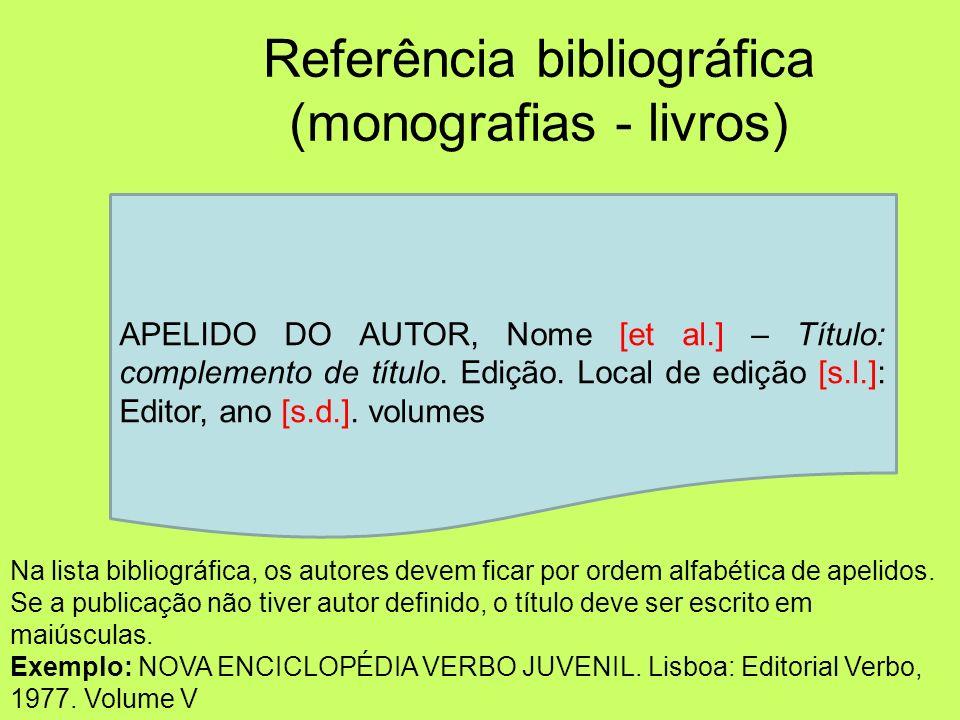 Referência bibliográfica (monografias - livros)