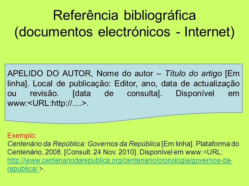 Referência bibliográfica (documentos electrónicos - Internet)