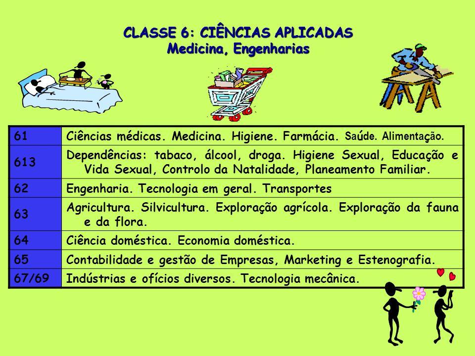 CLASSE 6: CIÊNCIAS APLICADAS Medicina, Engenharias