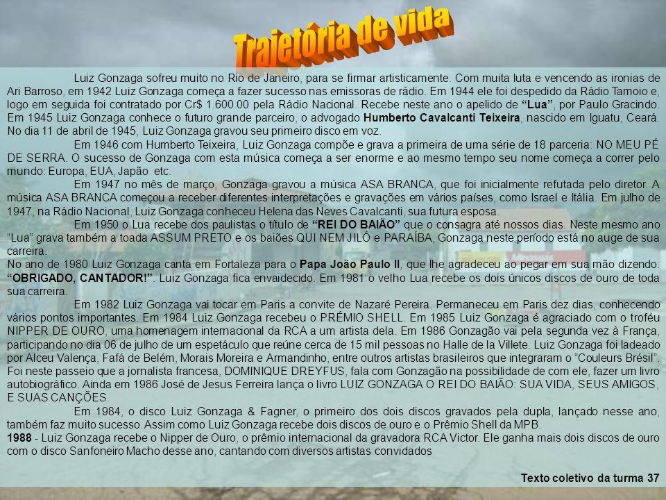 Luiz Gonzaga sofreu muito no Rio de Janeiro, para se firmar artisticamente. Com muita luta e vencendo as ironias de Ari Barroso, em 1942 Luiz Gonzaga começa a fazer sucesso nas emissoras de rádio. Em 1944 ele foi despedido da Rádio Tamoio e, logo em seguida foi contratado por Cr$ 1.600.00 pela Rádio Nacional. Recebe neste ano o apelido de Lua , por Paulo Gracindo. Em 1945 Luiz Gonzaga conhece o futuro grande parceiro, o advogado Humberto Cavalcanti Teixeira, nascido em Iguatu, Ceará. No dia 11 de abril de 1945, Luiz Gonzaga gravou seu primeiro disco em voz.