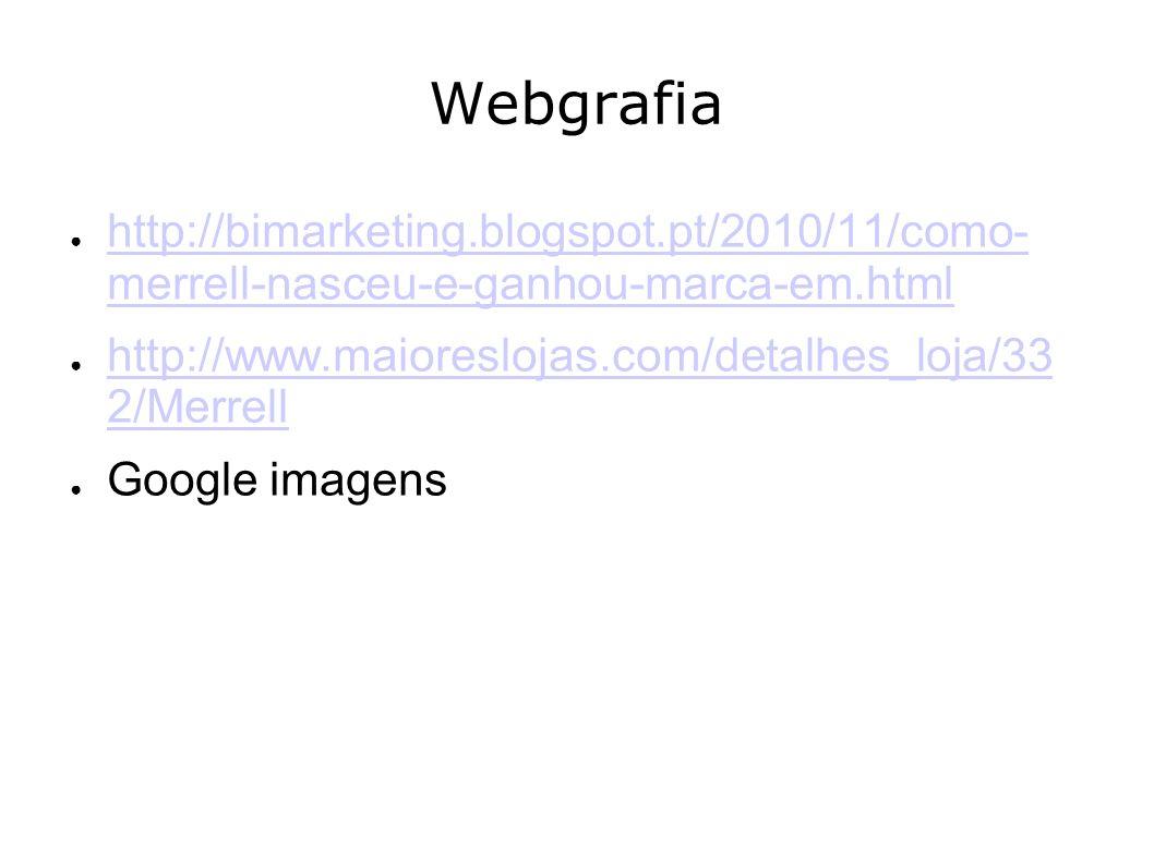 Webgrafia http://bimarketing.blogspot.pt/2010/11/como- merrell-nasceu-e-ganhou-marca-em.html. http://www.maioreslojas.com/detalhes_loja/332 /Merrell.