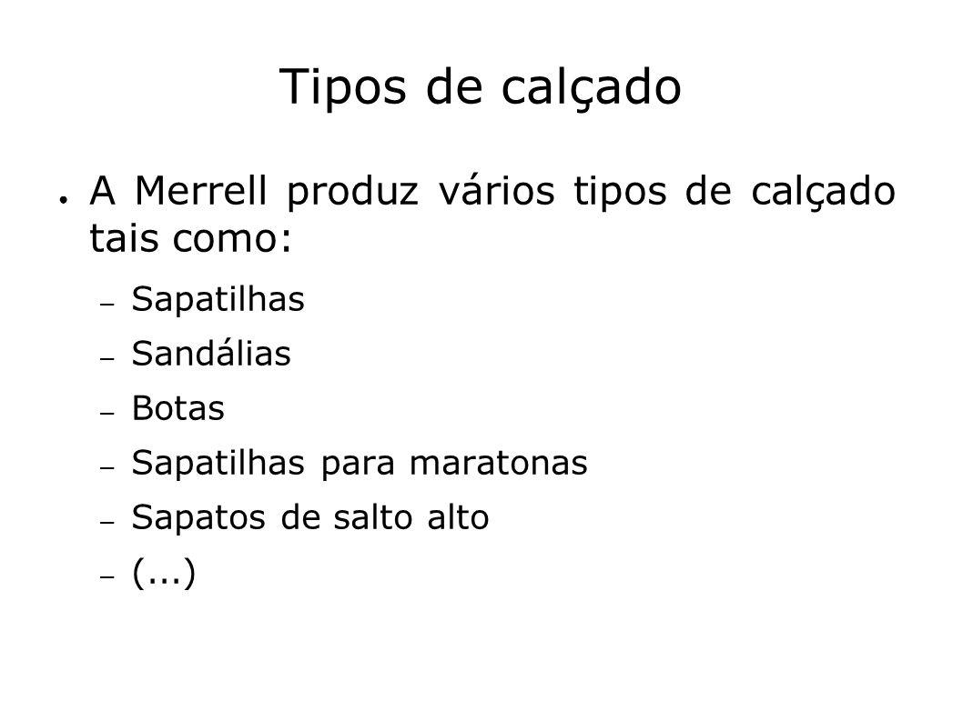 Tipos de calçado A Merrell produz vários tipos de calçado tais como: