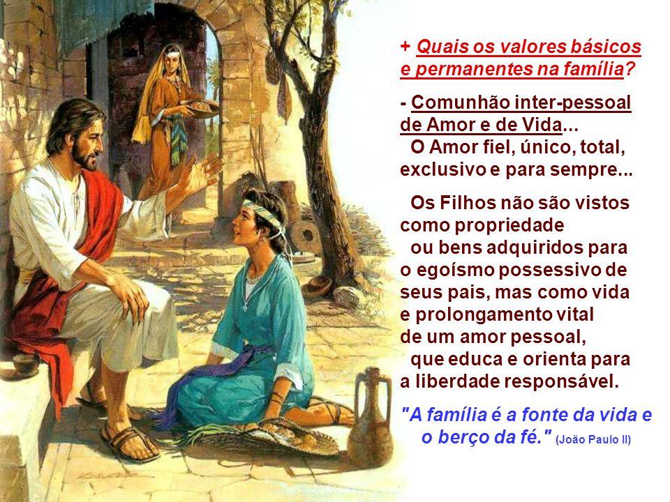 A família é a fonte da vida e o berço da fé. (João Paulo II)