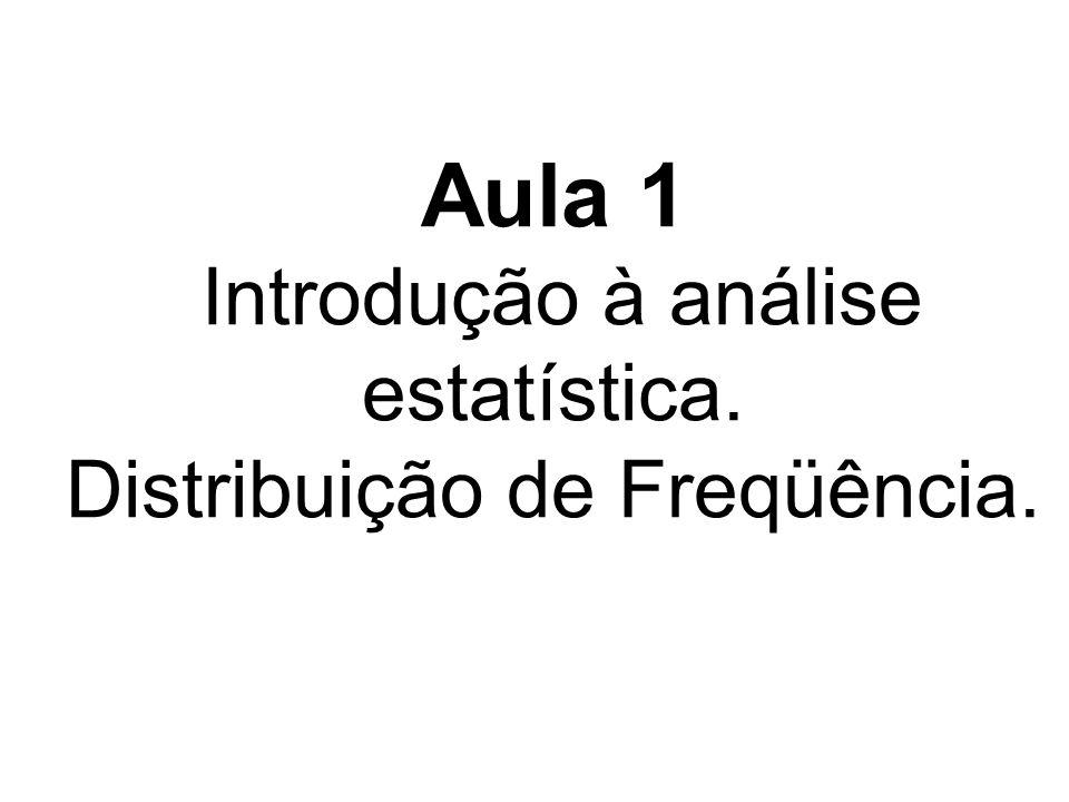 Aula 1 Introdução à análise estatística. Distribuição de Freqüência.