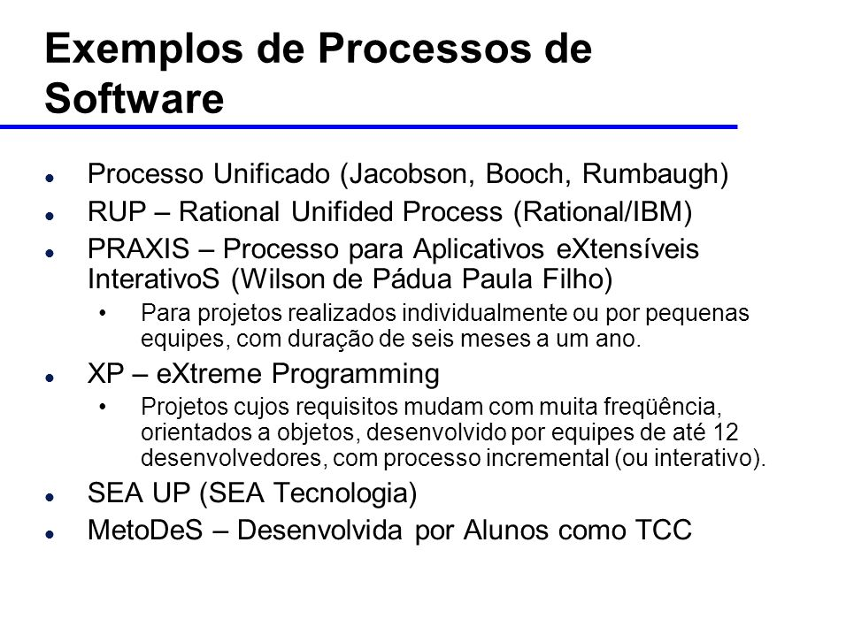 Exemplos de Processos de Software