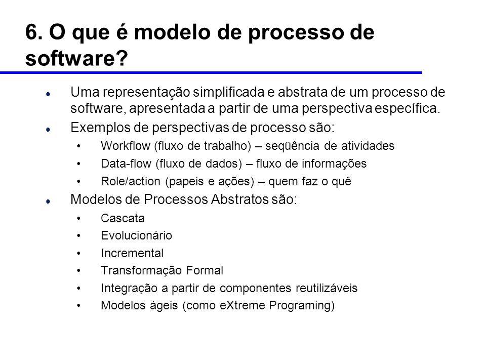 6. O que é modelo de processo de software