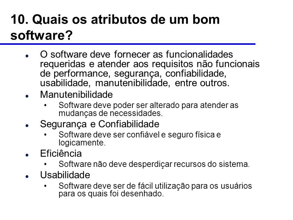 10. Quais os atributos de um bom software