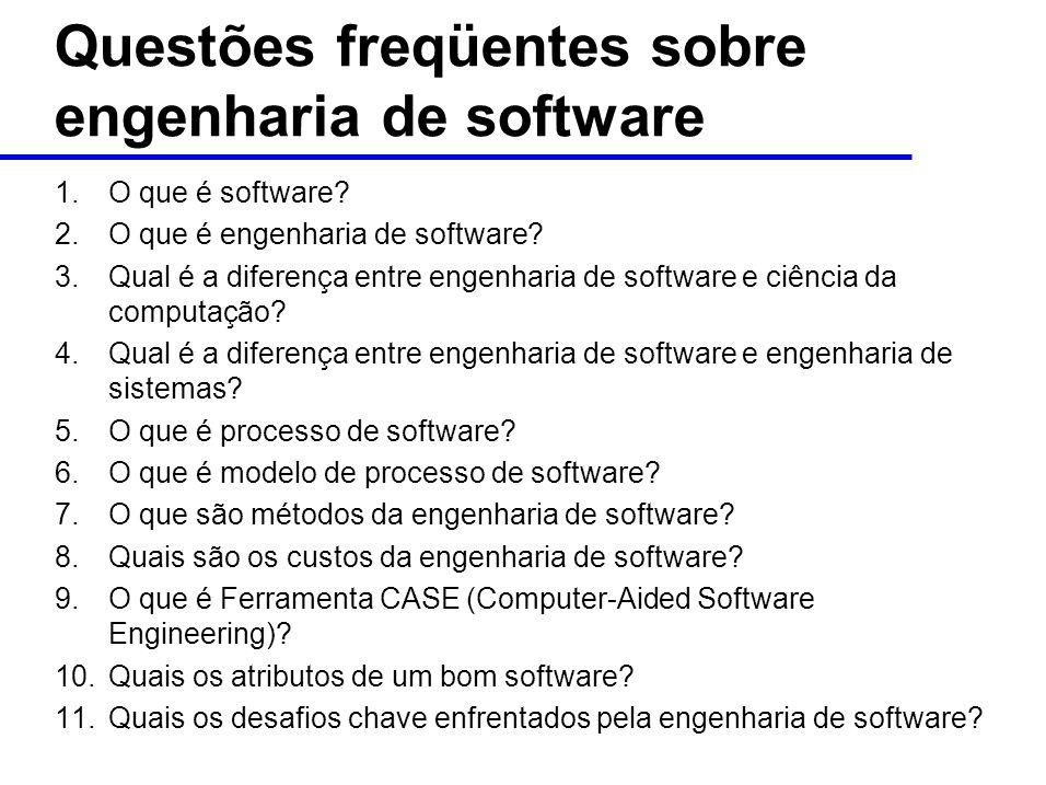 Questões freqüentes sobre engenharia de software