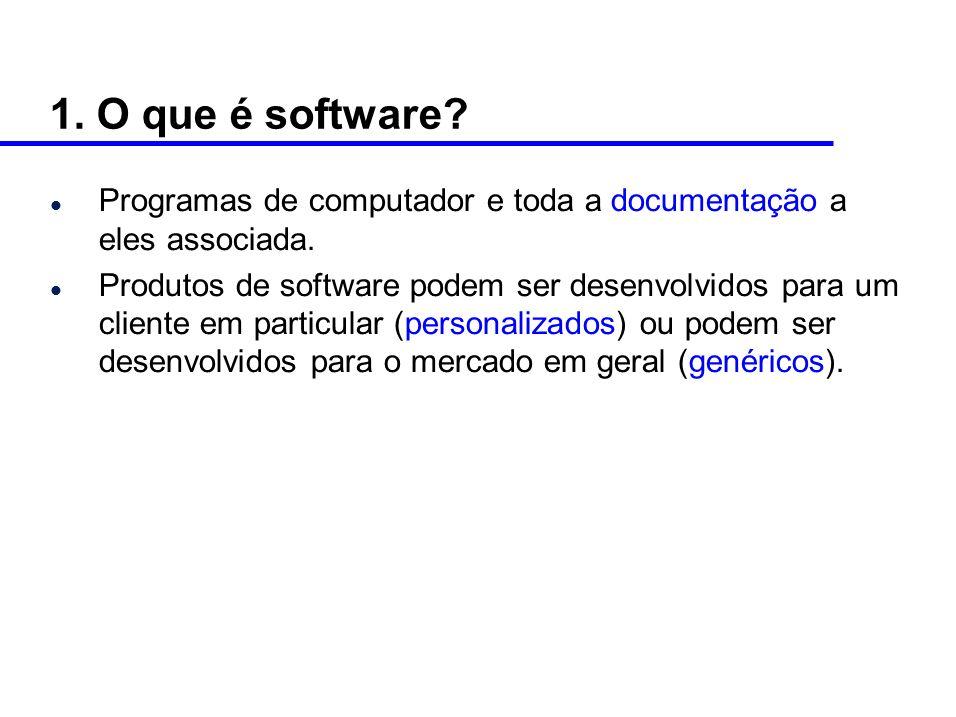 1. O que é software Programas de computador e toda a documentação a eles associada.