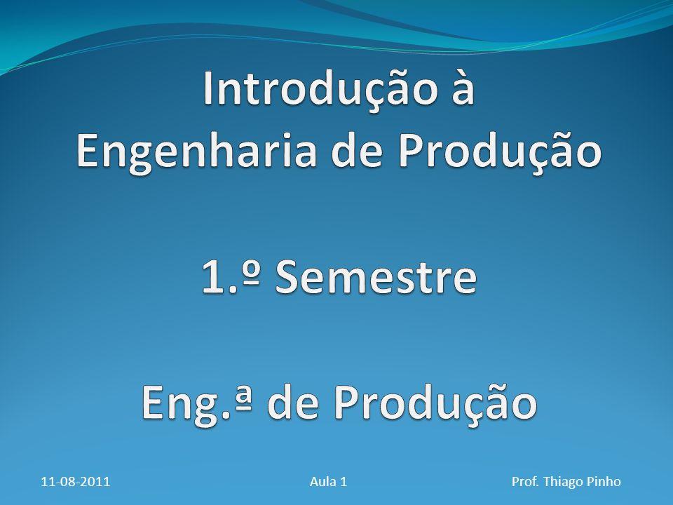 Introdução à Engenharia de Produção 1.º Semestre Eng.ª de Produção