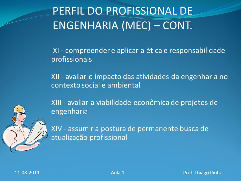 PERFIL DO PROFISSIONAL DE ENGENHARIA (MEC) – CONT.