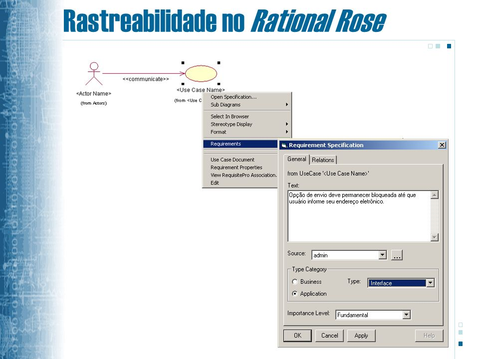 Rastreabilidade no Rational Rose