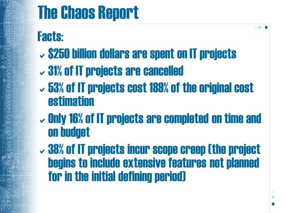 The Chaos Report Facts: $250 billion dollars are spent on IT projects