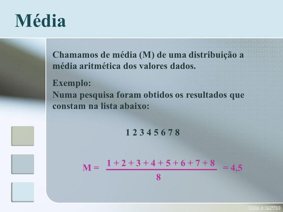 Média Chamamos de média (M) de uma distribuição a média aritmética dos valores dados. Exemplo:
