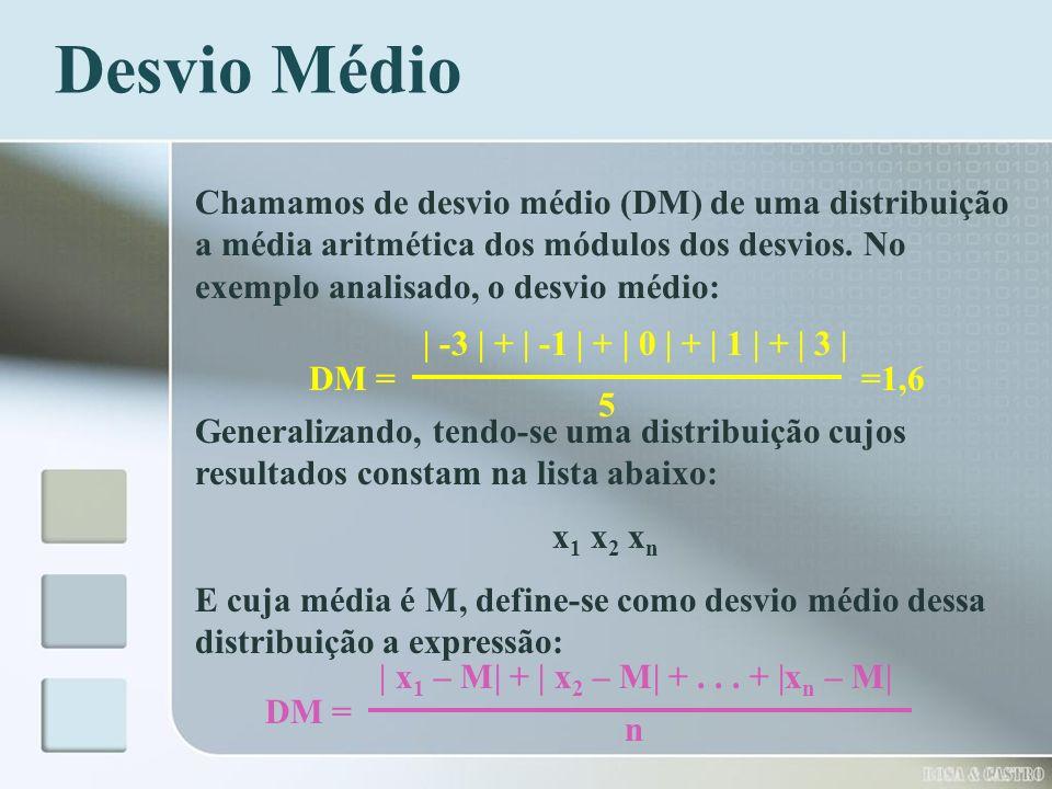 Desvio Médio Chamamos de desvio médio (DM) de uma distribuição a média aritmética dos módulos dos desvios. No exemplo analisado, o desvio médio: