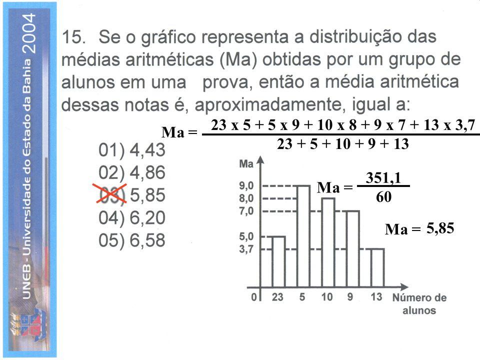 23 x 5 + 5 x 9 + 10 x 8 + 9 x 7 + 13 x 3,7 23 + 5 + 10 + 9 + 13 Ma = 351,1 60 Ma = Ma = 5,85