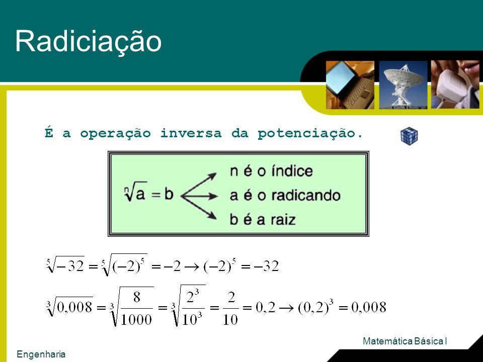 Radiciação É a operação inversa da potenciação. Matemática Básica I
