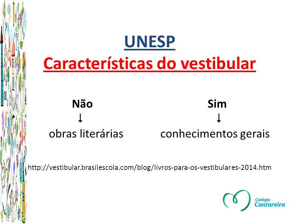 UNESP Características do vestibular Não Sim   obras literárias conhecimentos gerais http://vestibular.brasilescola.com/blog/livros-para-os-vestibulares-2014.htm