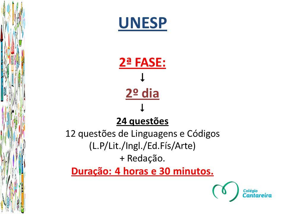 UNESP 2ª FASE:  2º dia  24 questões 12 questões de Linguagens e Códigos (L.P/Lit./Ingl./Ed.Fís/Arte) + Redação.