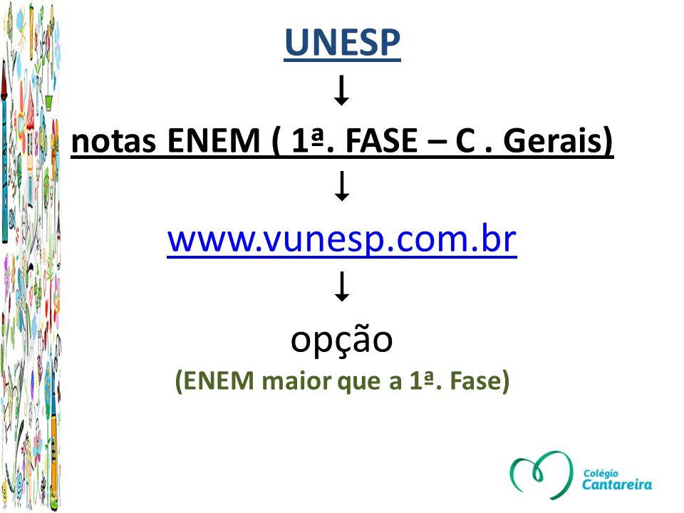 UNESP  notas ENEM ( 1ª. FASE – C. Gerais)  www. vunesp. com